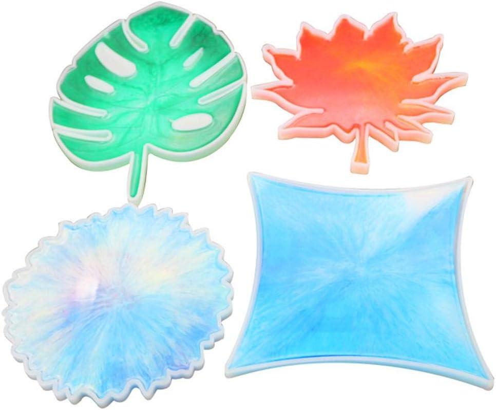 Silikon Gussformen Kristall Epoxy Silikonform Coaster Form Handgemachte Bl/ätter Geformt Spiegelform F/ür Coaster Machen DIY Handwerk