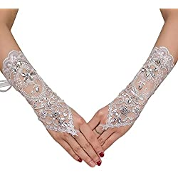 M Bridal Women's Rhinestones Lace Fingerless Gloves for Wedding Party Brides Accessory G02 (Ivory)