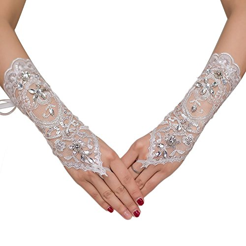 M Bridal Women's Rhinestones Lace Fingerless Gloves for Wedding Party Brides Accessory G02 (White) Rhinestone Bridal Gloves