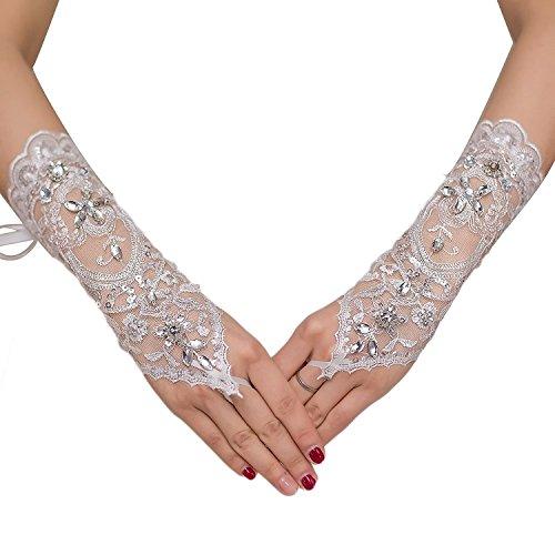 M Bridal Women's Rhinestones Lace Fingerless Gloves for Wedding Party Brides Accessory G02 (White) Rhinestone Bridal Gloves