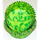 Oasis Supply 50 Count Baking Cups, Standard Size, Lime and Green Vine Pattern