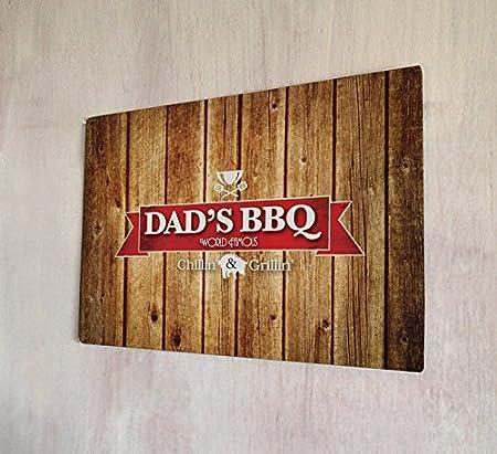 Artylicious Dad s BBQ chillin y Grillin efecto madera Sign ...