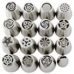 Russian Piping Tips Set (29-Piece Kit) | 15 Stainless Steel Icing Nozzles, 1 Leaf Tip, 10 Disposable Pastry Bags, 2 Couplers & 1 Brush | Flower Frosting Tools for Cake, Cookie, Cupcake Decoration 9 COMPLETE PIPING TIP SET: Unlike other cake frosting tips sets that require you to buy additional accessories, our extra-large 29-piece set comes with everything you need. This Russian piping tips kit includes 15 piping nozzles tips, 1 leaf tip, 2 tri-color reusable couplers, 10 disposable pastry bags, and 1 cleaning brush. Get extra accessories without having to pay extra. DURABLE & FOOD-SAFE: No dealing with regular metal piping tips that bend out of shape with a single use. Our Russian icing piping tips are crafted from sturdy food-safe stainless steel that handles thick frosting without ever losing shape. The 18/8 (304) stainless steel tips are also FDA-approved to ensure no toxins ever make their way into your treats. DECORATING MADE EASY: Create mouthwatering masterpieces without much effort even if you're a beginner. While other frosting decorating tips have tiny openings that easily clog and ruin the flow of the icing, ours are larger and produce beautiful results with a simple squeeze. We've even included handy instructions on how to use the couplers.