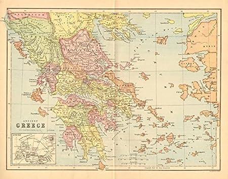 LA ANTIGUA GRECIA. Diseño de provincias. Inserción de Atenas. BARTHOLOMEW, 1876 mapa antiguo: Amazon.es: Hogar