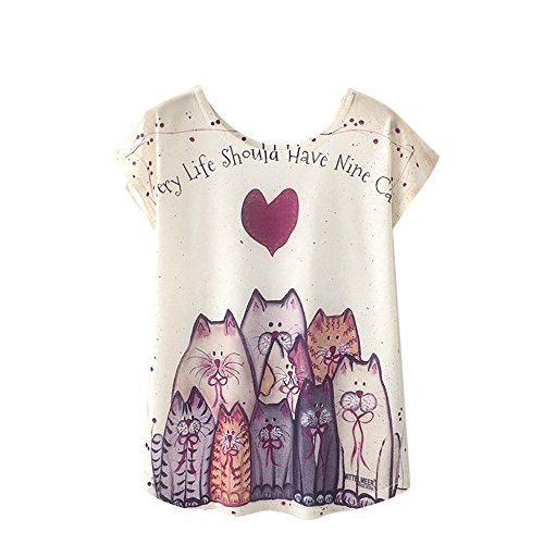54e9bd98d9d5a0 well-wreapped YSFWL Frauen T-Shirt drucken Kurzarm Top Applique Flowy  Chiffon O-