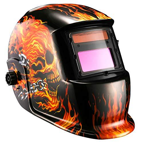DESOON Shield Flaming Skull Design Solar Power Auto Darkening Welding Helmet with Wide Lens Adjustable Shade Range 4/9-13 for Mig Tig Arc Weld Grinding Welder Mask ...