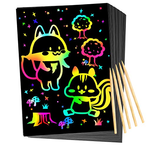 Qxnew Scratch Rainbow Art for Kids: Magic Scratch off Paper Children Art Crafts Set Kit Supplies Toys Black Scratch Sheets Notes Cards for Boys Girls Birthday Party Favors Games Christmas Easter Gifts