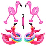Unime 4 Pack Inflatable Pink Flamingo Ring Toss Head Game Target Toss and 8 Pieces Inflatable Rings,Luau Party Accessories for Hawaiian Pool Beach Party Decoration Supplies