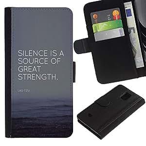 All Phone Most Case / Oferta Especial Cáscara Funda de cuero Monedero Cubierta de proteccion Caso / Wallet Case for Samsung Galaxy S5 Mini, SM-G800 // cita fuente gran fuerza éxito