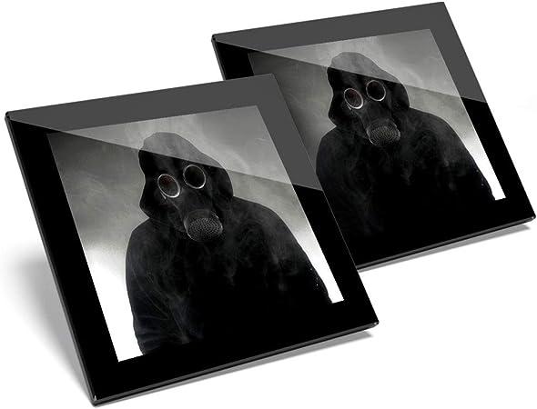 Impresionante juego de 2 posavasos de cristal, máscara de gas, muñeco tóxico de Chernobyl, calidad brillante, protección para cualquier tipo de mesa # 14546: Amazon.es: Hogar