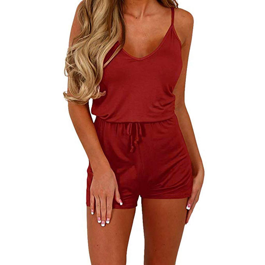 Women Summer Casual V Neck Spaghetti Strap Elastic High Waist Short Jumpsuits Loose Solid Cami Romper for Teen Girl (Red, M)