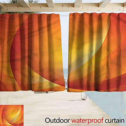 MaryMunger Doorway Curtain Orange Colorful Twist Lines Outdoor Privacy Porch Curtains W72x72L Inches ()