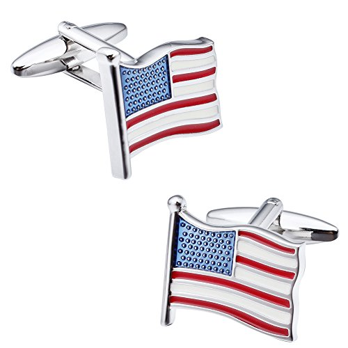 Link Costume Uk (HAWSON Official American Flag Fashion Cufflinks for Men Silver Tone)