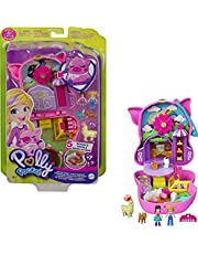 Polly Pocket On The Farm Piggy Compact, Farm Theme, Micro Polly Doll & Friend Doll, 2 Animal Figures (1 Alpaca with Hair), Fun Features & Surprise Reveals, Great Gift for Ages 4 Years Old & Up