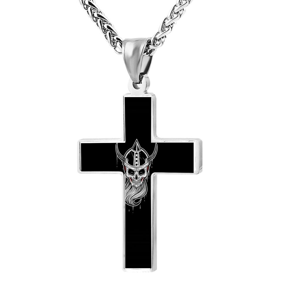 Wine Jianxian Crullz Cross Pendant Jewelry Zinc Alloy Prayer Necklace For Men Women With Necklace,24 Inch