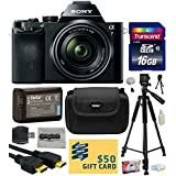"Sony a7K A7 Full-Frame Mirrorless 24.3 MP Interchangeable Digital Lens Camera with FE 28-70mm f/3.5-5.6 OSS Lens with Best Value Accessories Bundle Kit includes 16GB Class 10 SDHC Memory Card + Replacement (1200mAh) NP-FW50 Battery + Professional 60"" Inch Photo/Video Tripod + Hard Shell Carrying Case + High Speed USB Reader/Writer + HDMI Cable + Camera Lens Cleaning Kit + Bonus $50 Gift Card for Digital Prints"