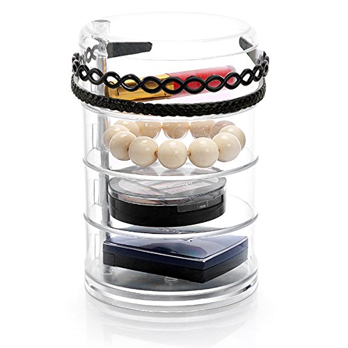 (Sooyee Clear Acrylic 4 Tiers 360 Degree Rotation Circular Hair Tie and Headband Holder with Lid, Plastic Jewelry and Makeup Accessories Compartment Organizer,Round Canister)