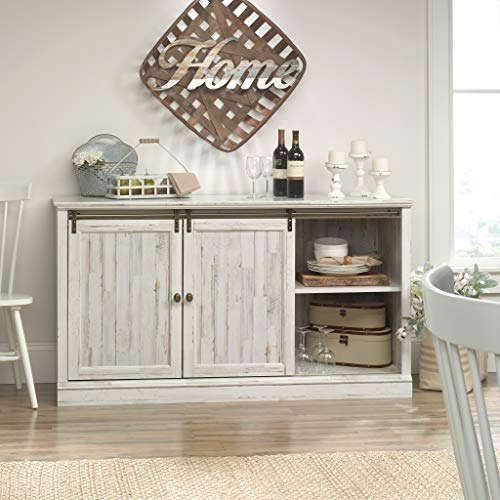 Sauder 423674 Barrister Lane 60'' Sliding Door Entertainment Credenza, White Plank Finish by Sauder (Image #4)