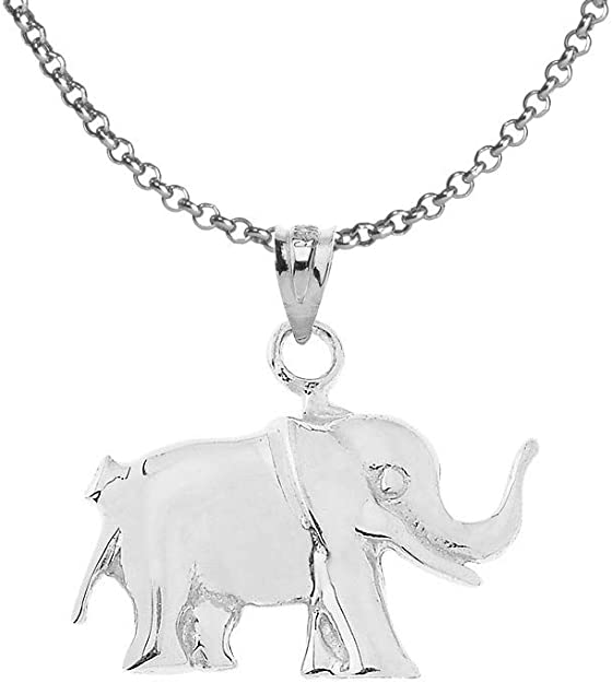 Sterling Silver Elephant Charm Necklace With Black Cubic Zirconia S925 16 Chain