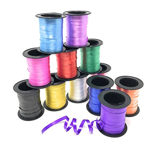 Curling Ribbon - 12 Pack Assorted Colors - 60 Inch Ribbon Rolls For Florist, Flowers, Arts & Crafts, Gift Wrapping, Hair, School, Girls by Toy Spout