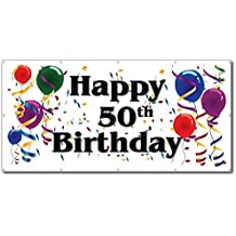 VictoryStore Yard Sign Outdoor Lawn Decorations: Happy 50th Birthday - 3' x 6' Vinyl Banner