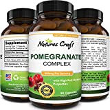 Natures Craft Pomegranate Supplement - Pure Antioxidant Rich 500 mg Pills for Heart Health Lower Cholesterol and Stronger Immunity - Natural Ellagic Acid for Anti Aging Benefits 90 Capsules