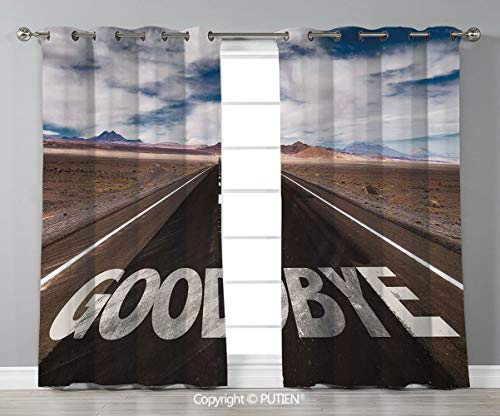 Grommet Blackout Window Curtains Drapes [ Going Away Party Decorations,Goodbye Written on Asphalt Road Highway City Urban Words,Brown Blue White ] for Living Room Bedroom Dorm Room Classroom Kitchen C -