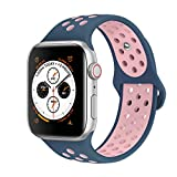 AdMaster Compatible with Apple Watch Bands 38mm 40mm,Soft Silicone Replacement Wristband Compatible with iWatch Series 1/2/3/4 - M/L Midnight Blue/Vintage Rose