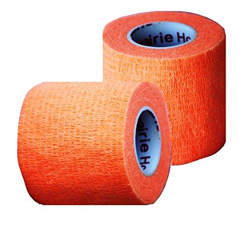 Self Adherent Elastic (Vet Tape, Self Adherent Wrap Tape, Self Adhering Stick Bandage, Self Grip Roll - (2-Inches Wide) x 15' Feet - (Orange))