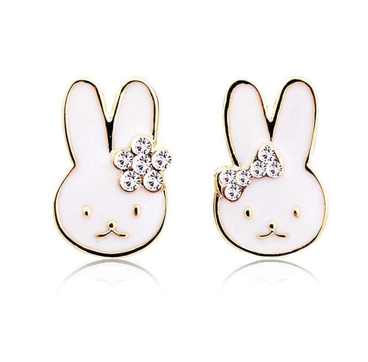Libaraba Diamond Accent Rabbit with Bowknot Stud Earrings with Heart Jewelry Box,Rabbit Earrings for Women