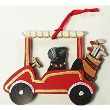 Black Pug Dog Golf Cart Wooden Handpainted 3-Dimensional Christmas Ornament - USA made.