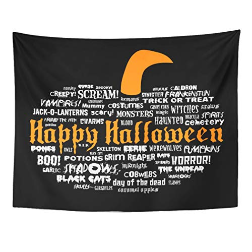 Tarolo Decor Wall Tapestry Treat Happy Halloween Scary Words in The Shape of Pumpkin on Trick Frankenstein 80 x 60 Inches Wall Hanging Picnic for Bedroom Living Room Dorm