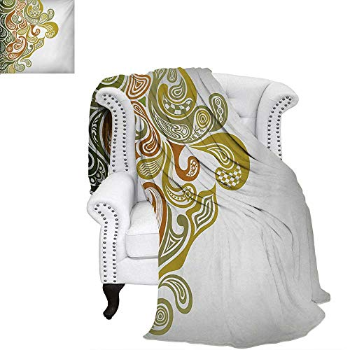 - warmfamily Earth Tones Summer Quilt Comforter Classical Scroll Pattern with a Modern Approach Swirled Leaf Figures Digital Printing Blanket 70