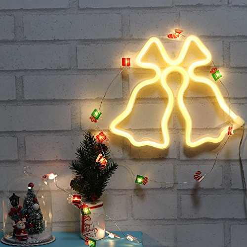 Christmas Jingle Bell Neon Signs LED Wall Decor lights for Bedroom Girls Wedding Birthday Party USB and Battery Operated Night Light for New Year Xmax Gift(NEBEL)