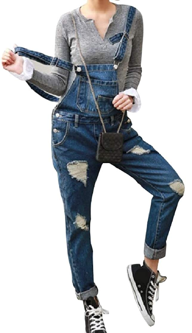 YUNY Womens Denim Destroyed Fashion Skinny Fit Pocketed Rompers Overalls Light Blue XS