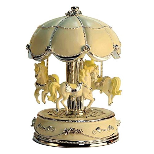 LIWUYOU Luxury Large Size Color Change LED Light Luminous Rotating Carousel Horse Musical Box with Music of Castle in The Sky Color Beige (Light Carousel)