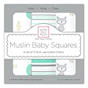 SwaddleDesigns Cotton Muslin Squares, Set of 3, Green Woodland