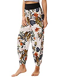 Women Floral Boho Pants Casual Lantern High Waist Yoga Trousers Loose Fit