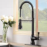 #6: Antique Spring Single Handle Pull Down Sprayer Oil Rubbed Bronze Kitchen Faucet, Kitchen Faucet Bronze With Deck Plate