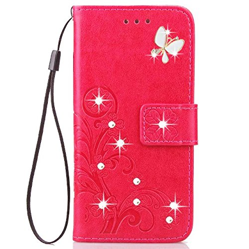 HAOTP Beauty Luxury 3D Handmade Bling Crystal Rhinestone Butterfly Floral Lucky Flowers PU Flip Stand Credit Card ID Holders Wallet Leather Case for iPhone 6 Plus / 6S Plus 5.5 (Bling/Rose)