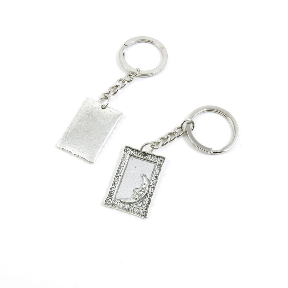 100 Pieces Keychain Door Car Key Chain Tags Keyring Ring Chain Keychain Supplies Antique Silver Tone Wholesale Bulk Lots P2DJ2 Moon Frame