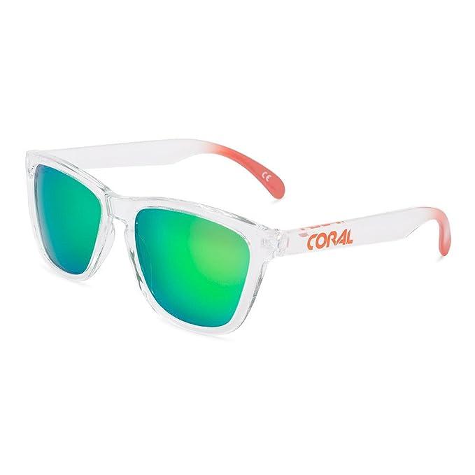 CORAL Sunglasses - SELESQUÍ - Gafas de sol con acabado transparente y lentes espejo revo verdes