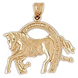CleverEve 14K Gold Pendant Horseshoes 3.3 Grams