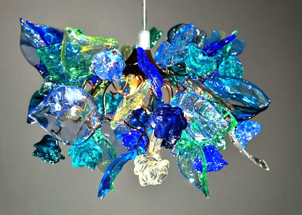 Lamp Shades - Blue tones flowers and leaves Ceiling Light for Bedroom lighting, Home, Hall & Kitchen - Light Fixtures - Pendant lighting - Home Decor