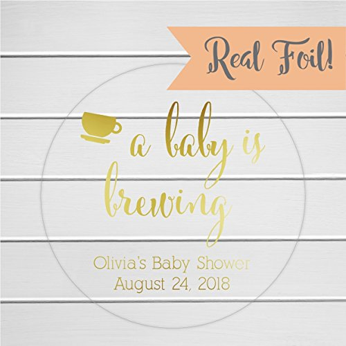A Baby is Brewing Clear Transparent Shower Favor Stickers/Labels (Baby Brewing Shower Favors)