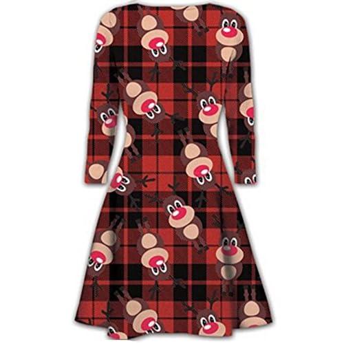 Kids Swing Dress Girls Christmas Xmas Flared Santa Reindeer Rudolph Dress