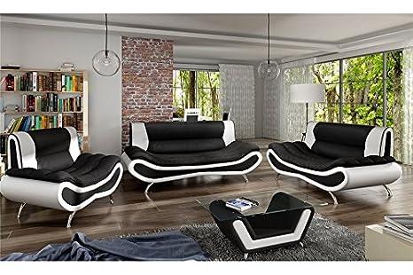 Conjunto de sofá Design 3 + 2 Ori - Blanco y Negro: Amazon ...