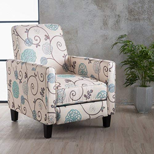 - Great Deal Furniture | Dufour | White and Blue Floral Fabric Recliner