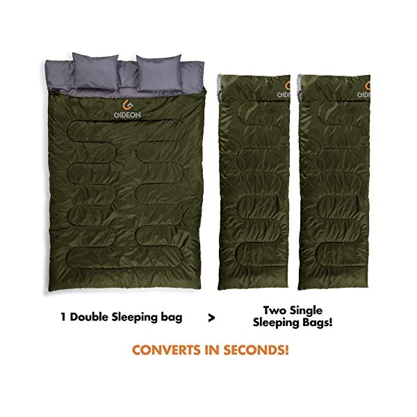 Gideon Waterproof Double Sleeping Bag with 2 Pillows - Amazingly Lightweight, Compact, Comfortable & Warm - for Backpacking, Camping, etc. Double Size or Convert into 2-Single Bags 4
