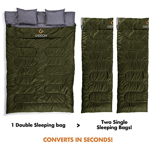 Gideon Extreme Waterproof Backpacking Double Sleeping Bag With 2 Pillows Amazingly Lightweight Compact Comfortable Warm For Backpacking Camping Etc Double Size Or Convert Into 2 Single Bags